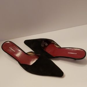 Burberry black suede kitten heel mules